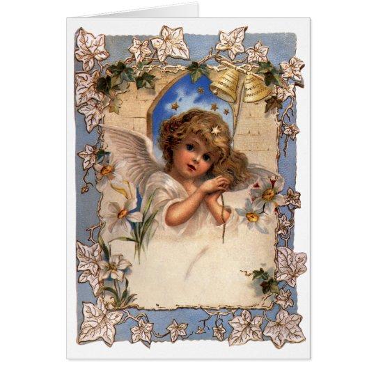 Navidad del vintage, ángel del Victorian con el Tarjeta