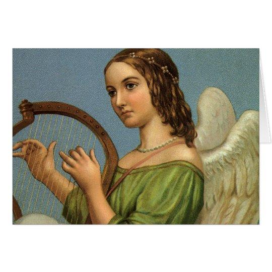 Navidad del vintage, ángel del Victorian con la Tarjeta