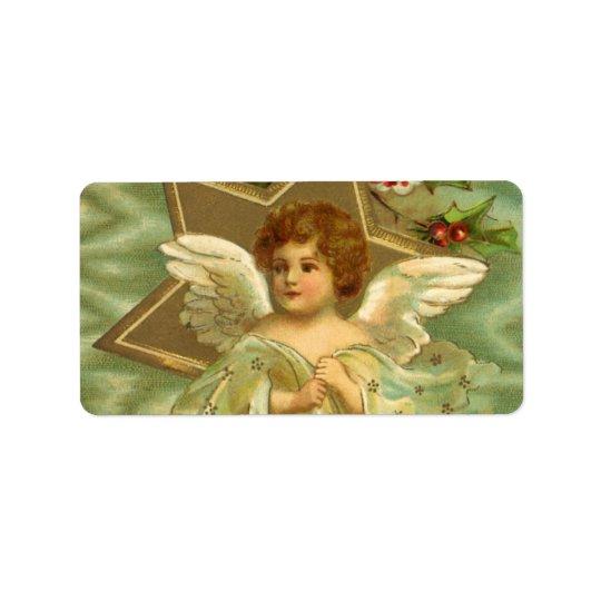 Navidad del vintage, ángel del Victorian con las Etiqueta De Dirección