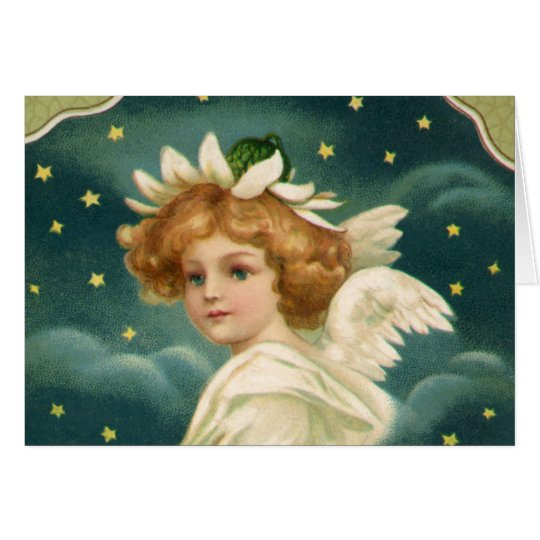 Navidad del vintage, ángel del Victorian con las Tarjeta De Felicitación