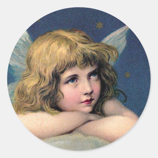 Navidad del vintage, ángel hermoso con las pegatina redonda