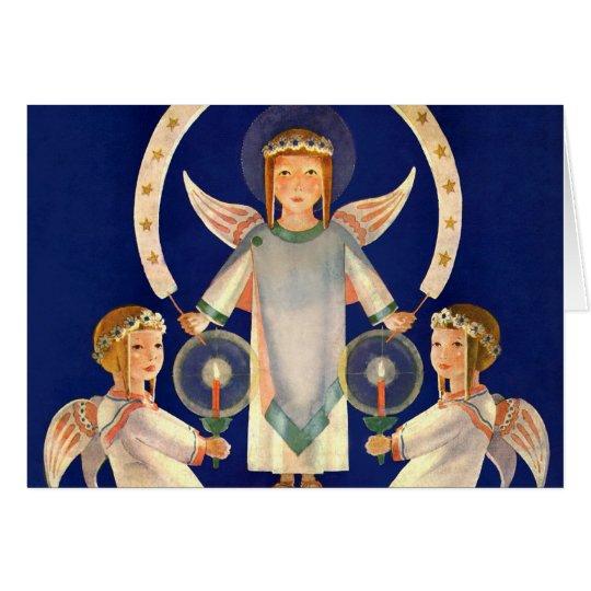 Navidad del vintage, ángeles de Santa Lucía del Tarjeta De Felicitación