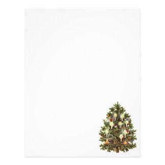Navidad del vintage, árbol adornado del Victorian Tarjeta Publicitaria
