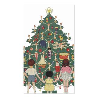 Navidad del vintage, árbol adornado y niños tarjeta de visita