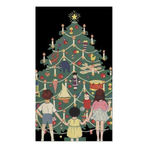 Navidad del vintage, árbol adornado y niños plantillas de tarjeta de negocio
