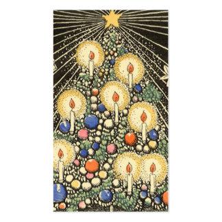 Navidad del vintage, árbol con las velas y una tarjetas de visita