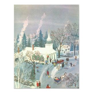Navidad del vintage, asistentes de la iglesia en invitación 10,8 x 13,9 cm