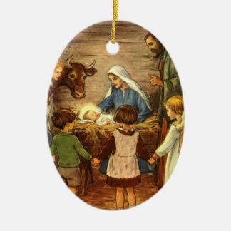 Navidad del vintage, bebé religioso Jesús de la Adorno Navideño Ovalado De Cerámica