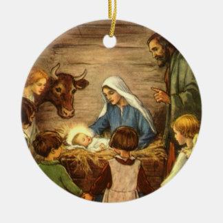 Navidad del vintage, bebé religioso Jesús de la Adorno Navideño Redondo De Cerámica