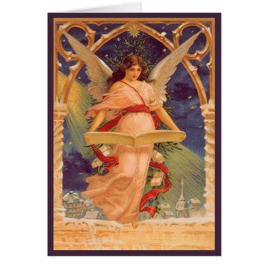 Navidad del vintage, biblia de la lectura del tarjeta de felicitación