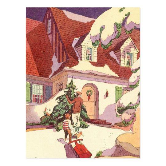 Navidad del vintage, casa de la familia en la postal