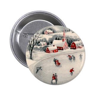 Navidad del vintage, charca congelada patinadores pin