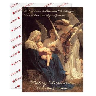 Navidad del vintage de Maria de la serenata de los Invitación 12,7 X 17,8 Cm