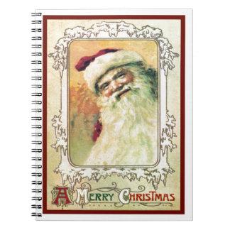 Navidad del vintage de Papá Noel Libro De Apuntes Con Espiral