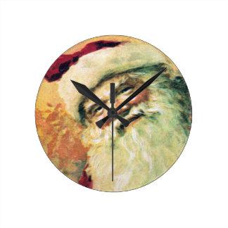 Navidad del vintage de Papá Noel Reloj Redondo Mediano