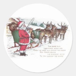 Navidad del vintage de Santa, del trineo y del Pegatina Redonda