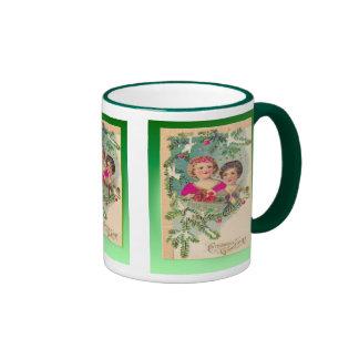 Navidad del vintage, decoraciones de los niños de  tazas de café