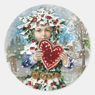"""Navidad del vintage del """"corazón y de la nieve"""" pegatina redonda"""