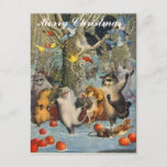 Navidad del vintage en la postal de maderas