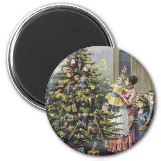 Navidad del vintage, familia del Victorian Imán