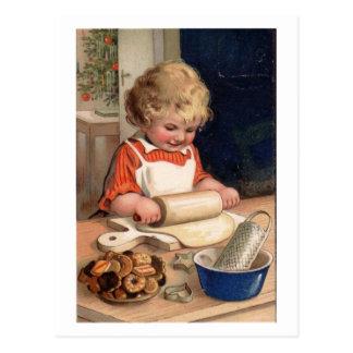 Navidad del vintage - galletas de la hornada del c postal