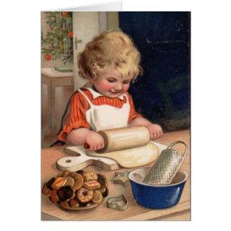 Navidad del vintage - galletas de la hornada del c tarjeta de felicitación