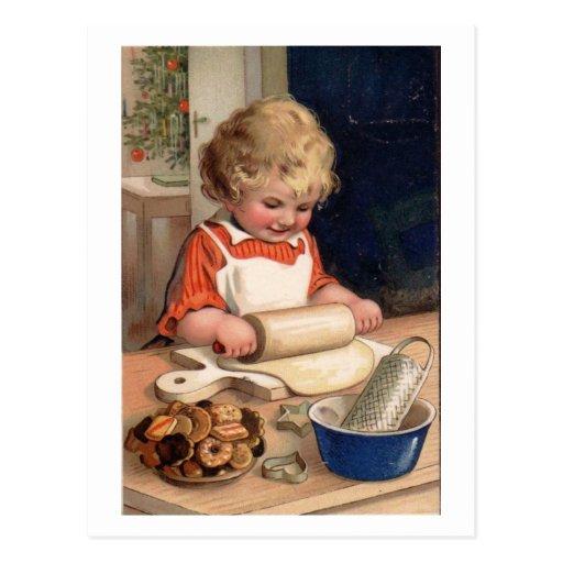 Navidad del vintage - galletas de la hornada del c postales