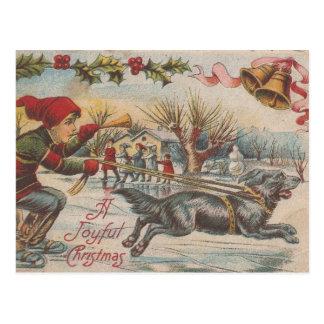 Navidad del vintage Hielo-Que patina con el perro Postal