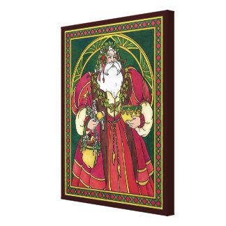Navidad del vintage, hojas del acebo de Papá Noel Lienzo Envuelto Para Galerías