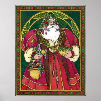 Navidad del vintage, hojas del acebo de Papá Noel Posters