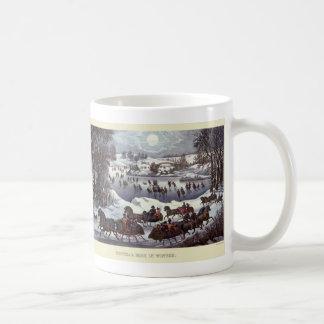 Navidad del vintage, invierno Snowscapes y paisaje Taza De Café