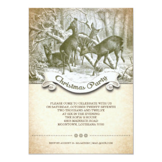 Navidad del vintage invitación 12,7 x 17,8 cm