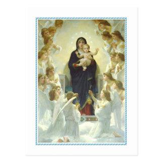 Navidad del vintage, la Virgen con ángeles Postal