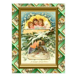 Navidad del vintage, nieve, iglesia y coro 1 tarjetas postales