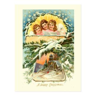 Navidad del vintage, nieve, iglesia y coro 2 tarjetas postales