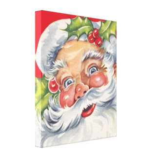Navidad del vintage, Papá Noel alegre con acebo Impresion De Lienzo