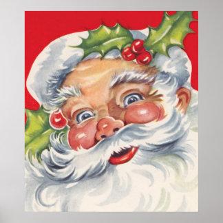 Navidad del vintage, Papá Noel alegre con acebo Impresiones