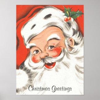 Navidad del vintage, Papá Noel alegre Impresiones