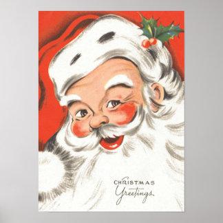 Navidad del vintage, Papá Noel alegre Posters