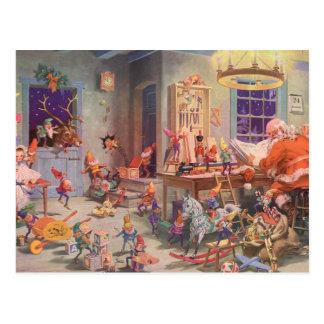 Navidad del vintage, Papá Noel con el taller de Postal