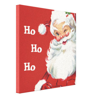 Navidad del vintage, Papá Noel Impresión En Lona Estirada