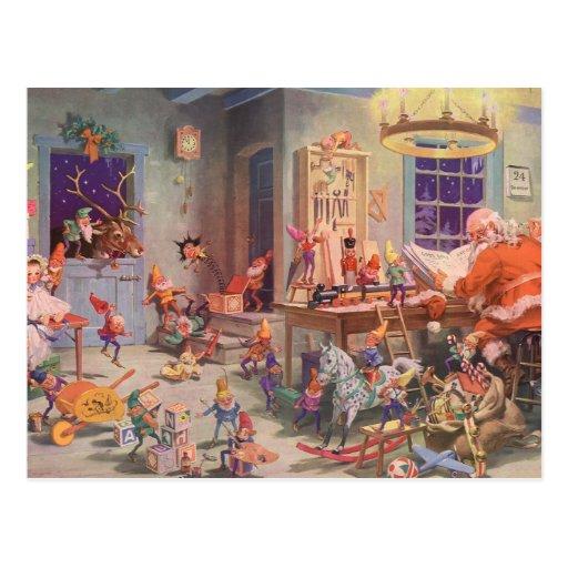 Navidad del vintage, Papá Noel y taller de los due Postales