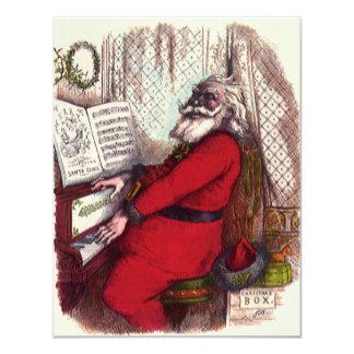 Navidad del vintage, piano de Papá Noel del Invitación 10,8 X 13,9 Cm