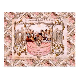 Navidad del vintage, primera tarjeta de Navidad