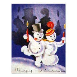 Navidad del vintage que baila velas de los muñecos invitacion personalizada
