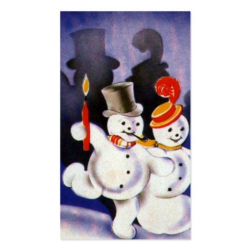 Navidad del vintage que baila velas de los muñecos tarjeta personal