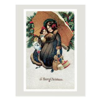 Navidad del vintage que hace compras en nieve postal