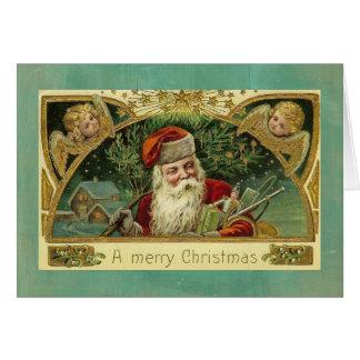 Navidad del vintage que saluda los ángeles de tarjeta de felicitación