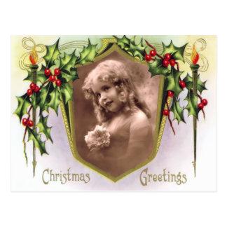 Navidad del vintage santo y postal de las luces