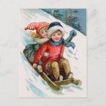 Navidad del vintage Sledding las postales